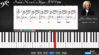 Bach - Prelude in C Major. BWV 846 (Learn to play)