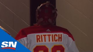 David Rittich Headbutts The Wall After Allowing Centre Ice Goal