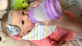 Changing and Feeding Reborn Baby Bernese poor baby spits up