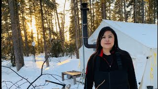 How to set uṗ a HOT TENT for WINTER CAMPING in -40c