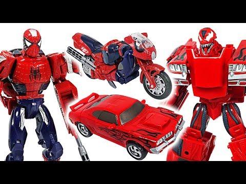 Marvel Avengers Transformers Spider Man, Iron Man VS Carnage, Venom! Fight!! - DuDuPopTOY