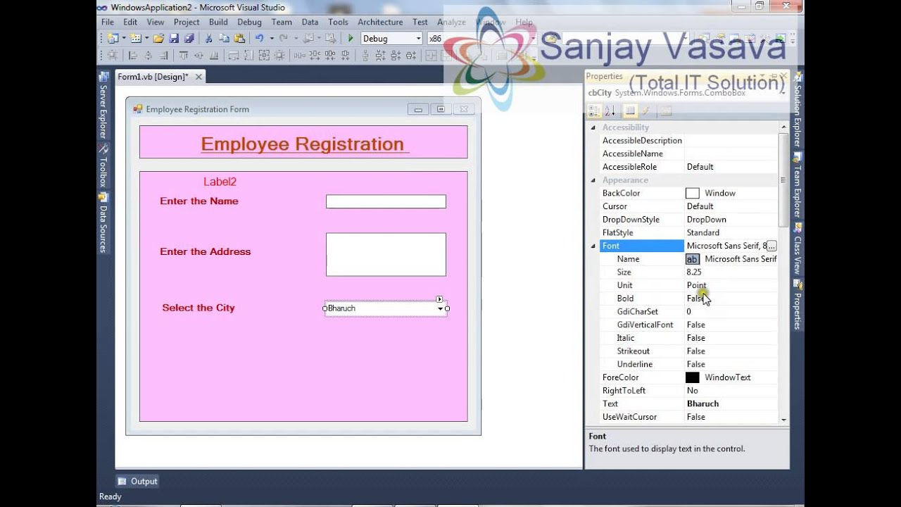 How to Create the Employee Registration Form using the TextBox – Employee Registration Form