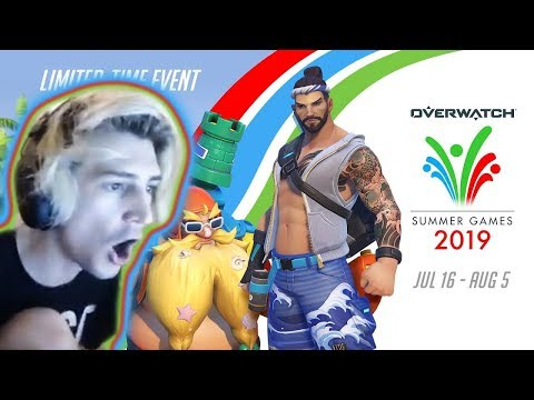 XQC OPENS AND REVIEWS *NEW* OVERWATCH SUMMER GAMES 2019 SKINS!