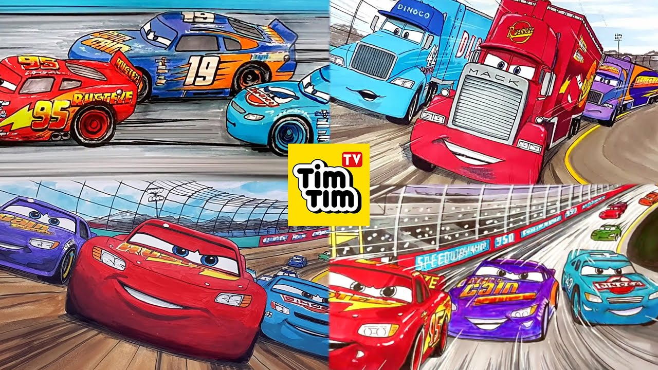 Compilation - LIGHTNING McQUEEN, CAL WEATHERS & BOBBY SWIFT . CARS 3 Drawing and Coloring for Kids