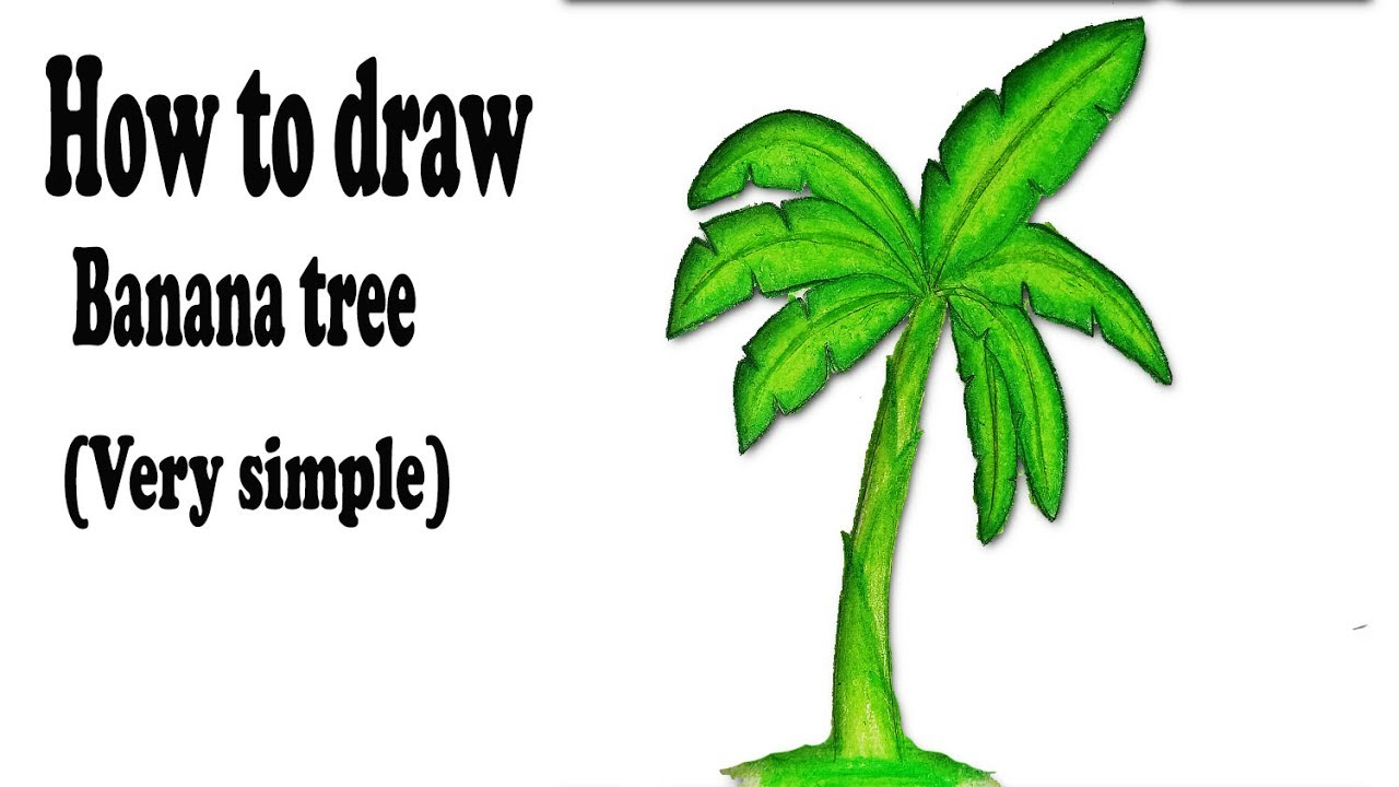 How To Draw Banana Tree Very Easy Draw With Oil Pastel Colour Youtube