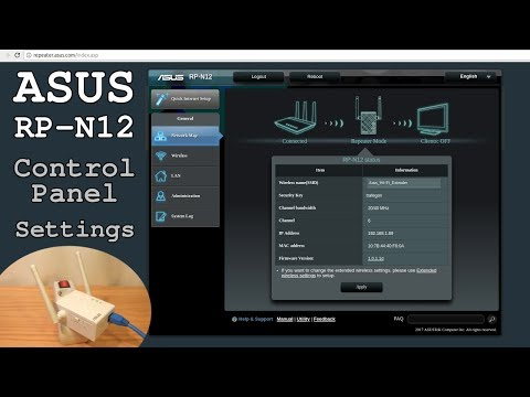 Asus RP-N12 Wi-Fi Extender • Control Panel Access And Settings Overview