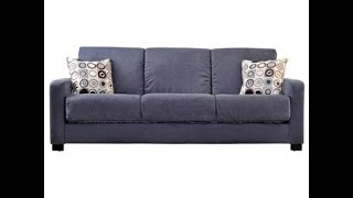 ... Milan Sofa Plum Velvet Handy Living Tahoe Convert A Couch In Gray  Microfiber With Black Geometric Circle Pillows