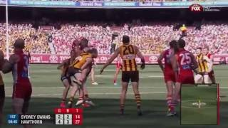AFL 2014: Jarryd Roughead's tackle on Hannebery in the 2014 Grand Final