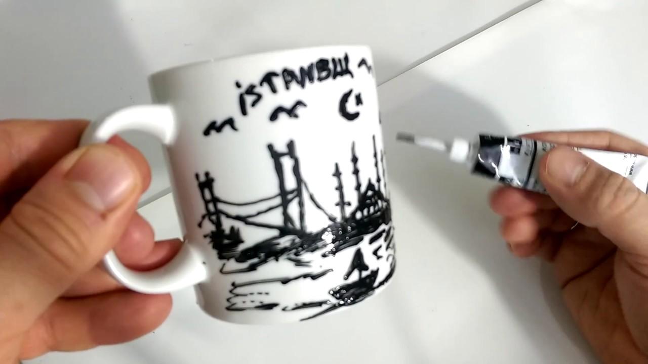 Kupa Bardak üzerine Resimler çizelim Boyama Videoları Bardak