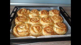 Слоеный пирог с творогом и сыром из готового теста / Бёрек по-турецки с творогом (Баница, Borek )