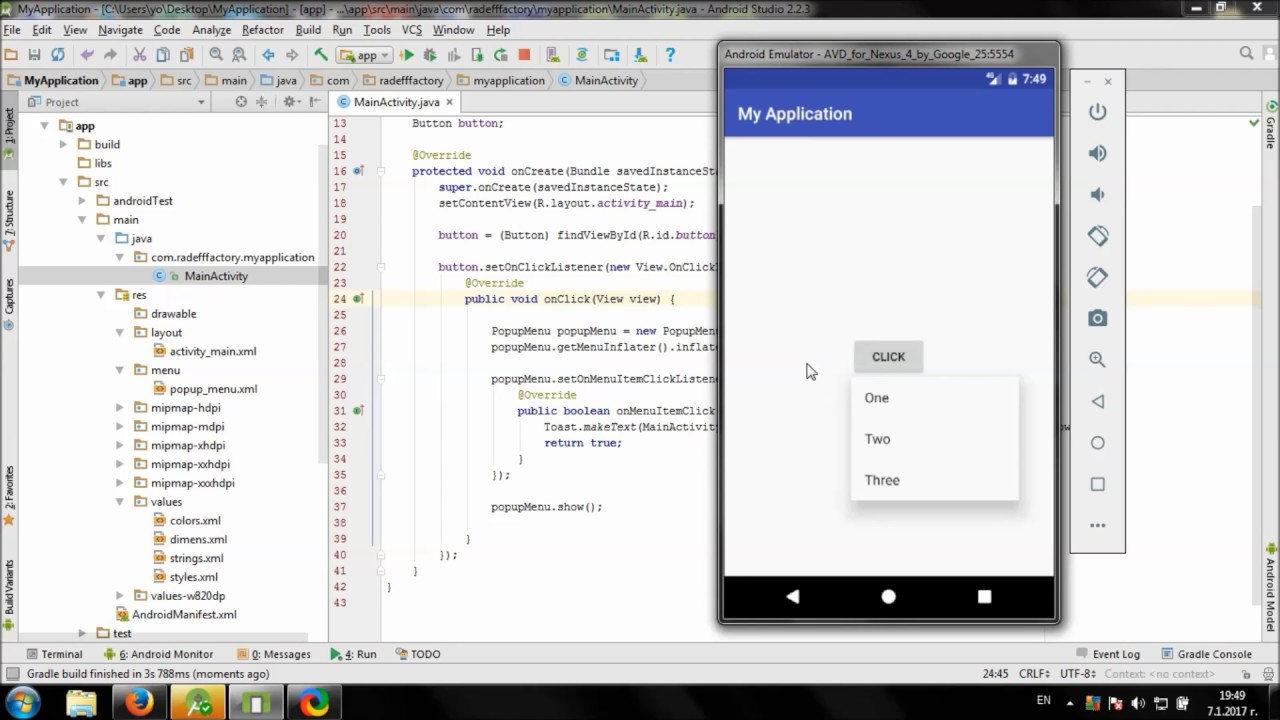 Create Popup Menu in Android Studio