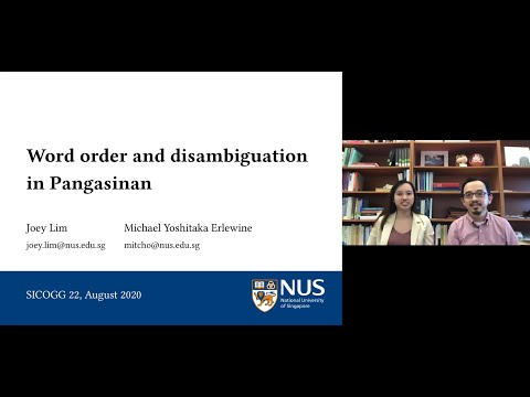 Word order and disambiguation in Pangasinan