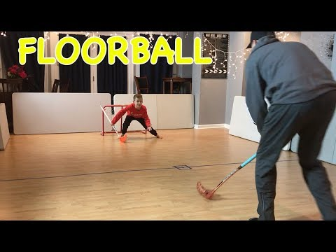 Kids HocKey Carter vs Hockey Dad in Floorball Battle