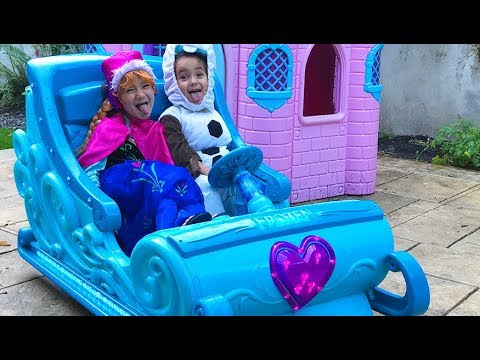Disney Frozen Sleigh Ride On Princess Castle Surprise Power Wheels Elsa Anna