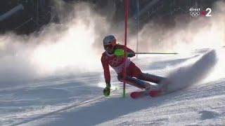 JO 2018 : Ski alpin - Slalom Hommes. Henrik Kristoffersen meilleur temps de la première manche