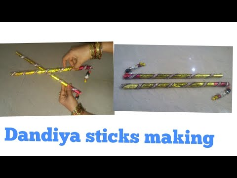 How to make Dandiya sticks from waste newspaper | Best out of waste