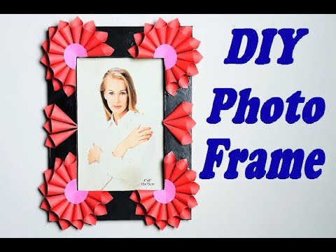 DIY - Handmade Floral Photo Frame || With card board and colorful paper ||
