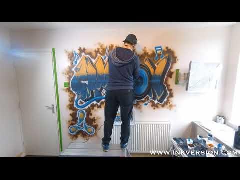 Graffiti Rave inspired name wall mural timelapse