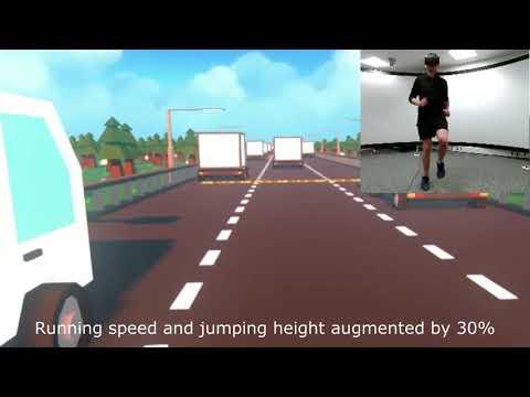 Virtual Performance Augmentation in an Immersive Jump & Run Exergame