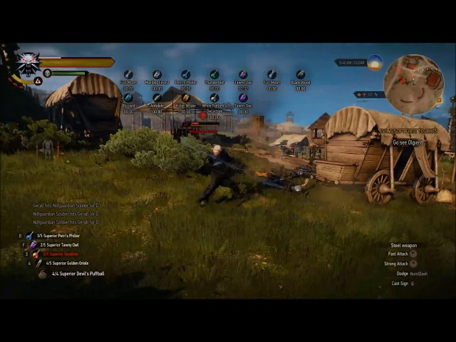 "Witcher 3 - ""Devil Geralt"" Alchemy Build vs 500 Nilfgaardians"