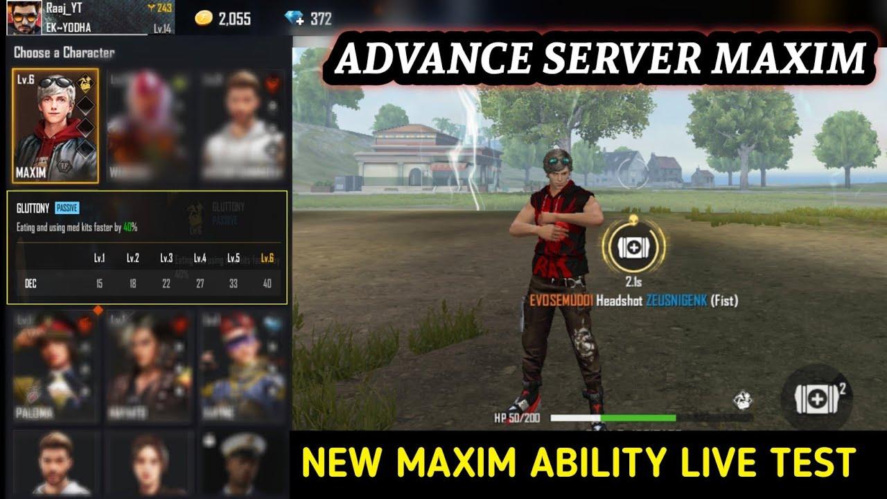 Download New Maxim Ability Live Test   Advance Server Maxim Ability Test   Free Fire New Event   OB27 Updates