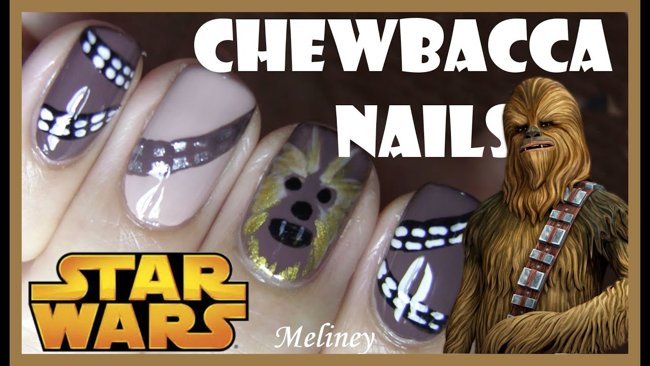 STAR WARS CHEWBACCA NAILS | FREE HAND NAIL ART DESIGN FOR HALLOWEEN ...