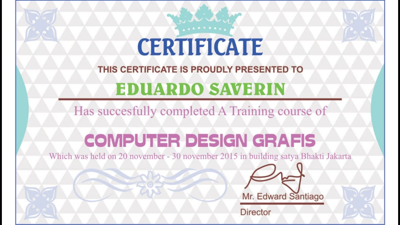 Corel Draw Tutorials Certificate Designs A Training Course Youtube