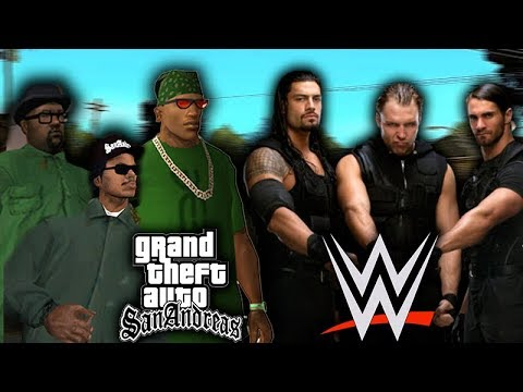 GTA SA TEAM VS WWE THE SHIELD!! WWE 2K17
