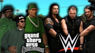GTA SA TEAM VS WWE THE SHIELD!! WWE 2K17