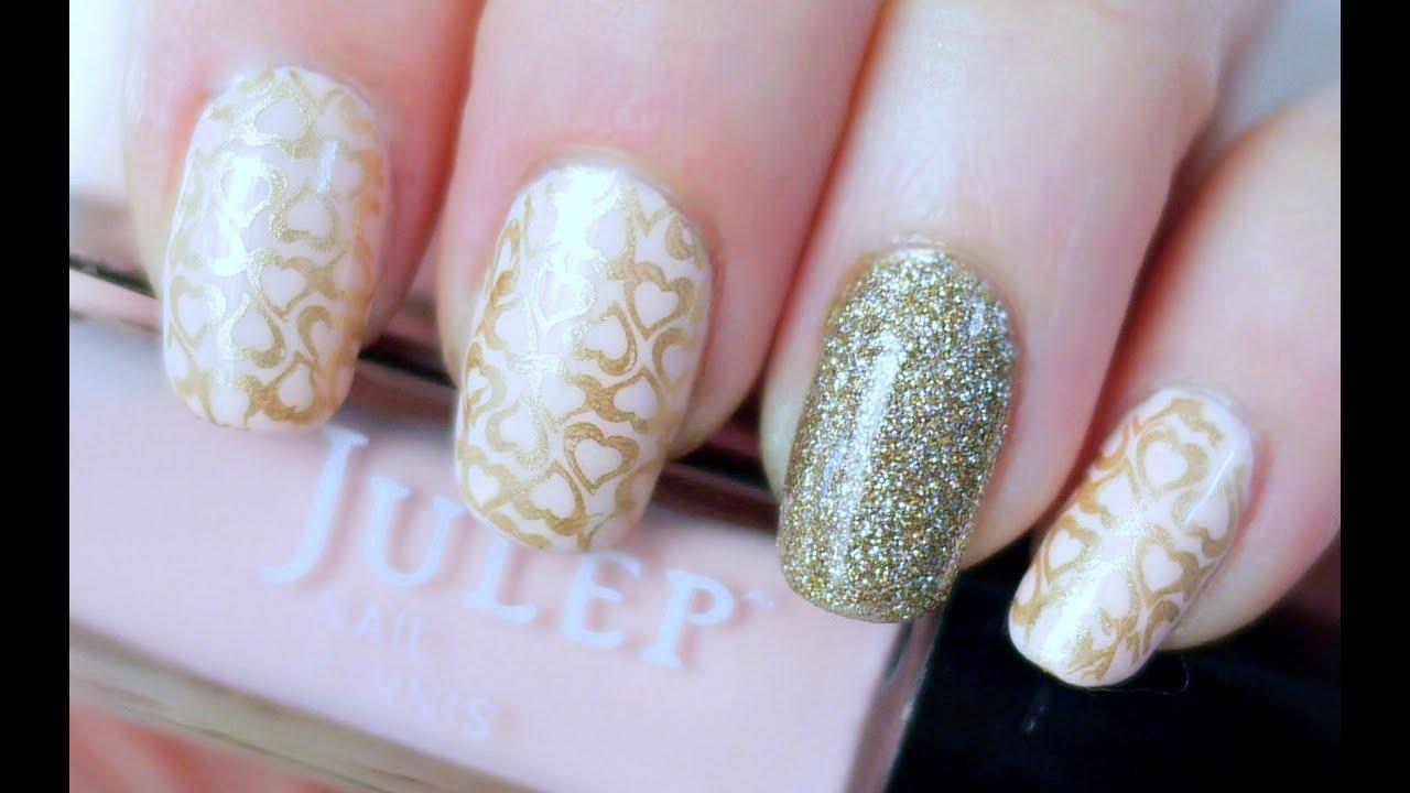 Pink & Gold Hearts Nails (Konad Stamping) - YouTube