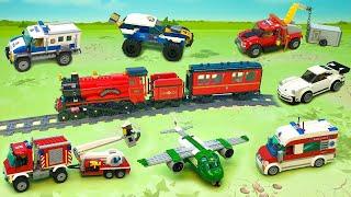 Полицейская машина Скорая помощь Поезд Эвакуатор Автовышка Самосвал - новые игрушечные видео.