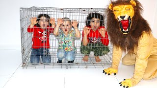 The lion escaped from the cage