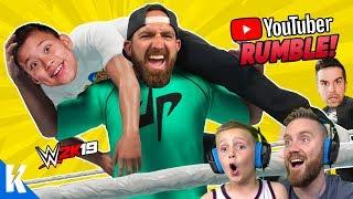 Gambar cover YouTubers Royal Rumble! (DUDE PERFECT, EVANTUBEHD and CHRIS DENKER) in WWE 2k19! KIDCITY GAMING