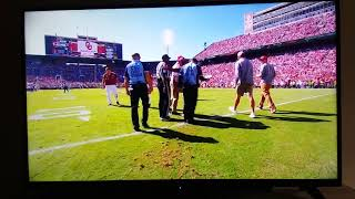 Oklahoma Sooners mascot crash west Virginia vs oklahoma game