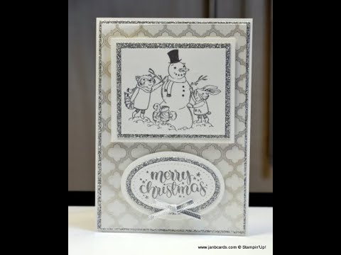 No.338 - Silver Designer Acetate Christmas Card - UK Stampin' Up!