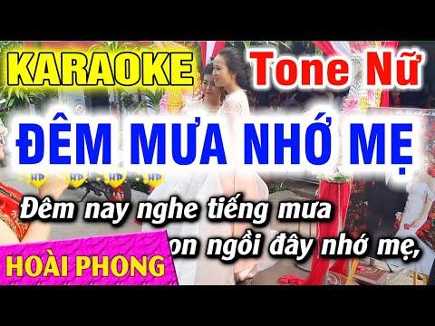 Đêm Mưa Nhớ Mẹ Karaoke Tone Nữ Nhạc Sống Mới Nhất | Hoài Phong Organ