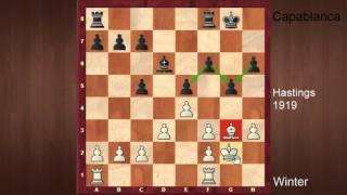 Partie d'échecs célèbre commentée  Winter contre Capablanca à Hastings 1919