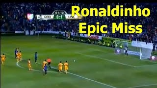ronaldinho epic penalty miss on debut queretaro vs tigres 2014