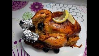 طريقة عمل الدجاج محمر محشي بالارز والكبدة على طريقة المطاعم