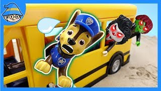Paw Patrol on the Playmobil school bus. PJ Masks, Save a school bus from ghost.