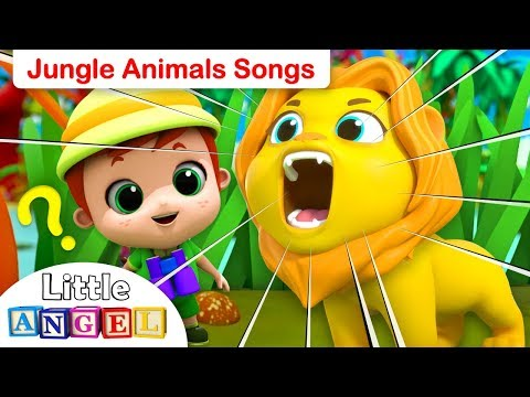 Down In The Jungle | Jungle Animals Song (3D Version) | Kids Songs by Little Angel