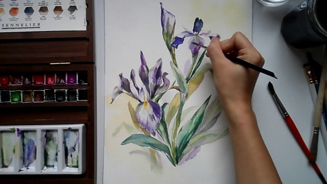 Watercolor iris flower youtube watercolor iris flower izmirmasajfo