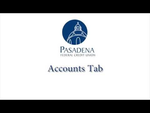 Pasadena FCU Online Banking Overview: Accounts Tab