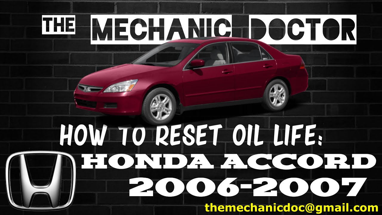 How To Reset Oil Light Honda Accord 2006 2007 Youtube