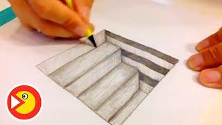 Ступени 3D - Уроки рисования - Простым карандашом