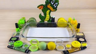 Green + Yellow Slime ! Dragon Season #3 ! Mixing Makeup and Glitter into Clear Slime