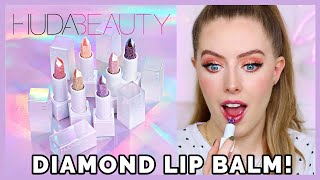 HUDA BEAUTY DIAMOND LIP BALM! Review + All Shades Swatched!