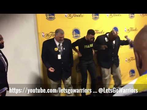 """Stephen Curry """"Jones BBQ & Foot Massage"""" Dance W/ Security Guards, Warriors (4-1) NBA Finals"""