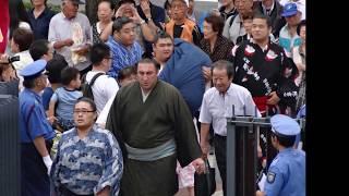 旭天鵬以来6年ぶりの平幕優勝を達成した栃ノ心の場所入り。撮影は2015年...