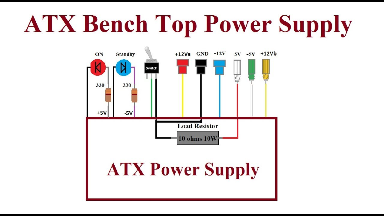 atx computer bench top power supply step by step youtube rh youtube com ATX Power Supply Circuit Diagram Switch Mode Power Supply Diagram